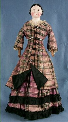 China doll, woman, purple and black plaid dress, Germany, 1850-1875