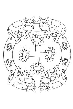 Koeien Mandala Pattern Coloring Pages, Mandala Coloring Pages, Colouring Pages, Coloring Books, Mosaic Patterns, Applique Patterns, Painting Patterns, Farm Animals, Animals For Kids