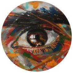 Faizal (eye portrait) by David Walker £1,750.00 Spray paint on canvas Signed Original  60cm diameter - See more at: http://www.lawrencealkingallery.com/artists/david-walker/work/faizal-eye-portrait#sthash.7uyqkQk5.dpuf