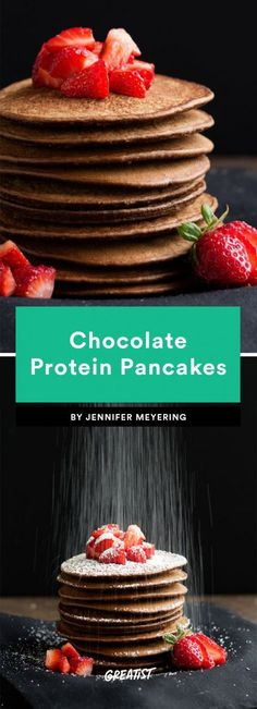 9 Protein Pancake Recipes That Prove You're Doing Breakfast All Wrong Protein pancakes are healthy, filling, and don't usually call for tons of ingredients, so they're always on our short list of essential breakfast recipes. Protein Flapjacks, Chocolate Protein Pancakes, Protein Powder Pancakes, Protein Powder Recipes, Chocolate Crunch, Oatmeal Pancakes, Protein Recipes, Protein Foods, High Protein