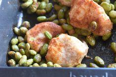 Kylling med edamame bønner i ovn sund mad | nogetiovnen.dk Always Hungry, Edamame, Sprouts, Protein, Potatoes, Chicken, Vegetables, Bootcamp, Potato