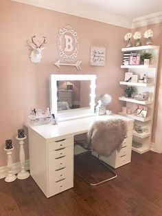 20 Best Makeup Vanities & Cases for Stylish Bedroom vanity ideas bedrooms 20 Best Makeup Vanities & Cases for Stylish Bedroom Ikea Alex Drawers, Clear Chairs, Vanity Room, Room Decor, Room Inspiration, Bedroom Decor, Stylish Bedroom, Room Makeover, Glam Room