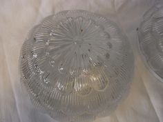 Pair Vintage German Round Glass Flower Wall or Ceiling Lamp Sconces #