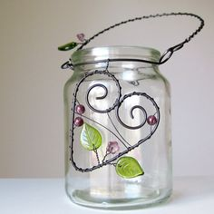 Проволочный декор Mason Jar Crafts, Bottle Crafts, Mason Jars, Wire Hanger Crafts, Wire Crafts, Copper Wire Art, Metal Jewelry Making, Jar Art, Hanging Vases