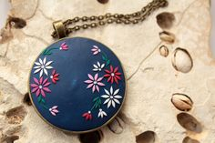Hand embroidered necklace navy blue necklace by LandOfJewellery
