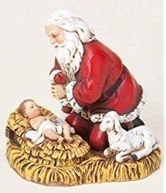 Joseph's Studio Kneeling Santa with Baby Jesus Christmas Ornament
