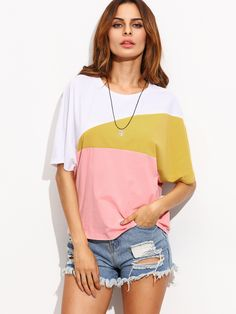 Shop Color Block Round Neck Short Sleeve T-shirt online. SheIn offers Color Block Round Neck Short Sleeve T-shirt & more to fit your fashionable needs.