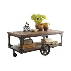 Industrial Coffee Table Urban Loft Rustic Country Distressed Wood Metal Cart #Country
