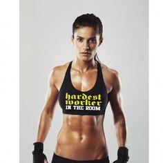 "Ladies Black ""HARDEST WORKER"" Sports Bra - BodyBags Authentic Gear"