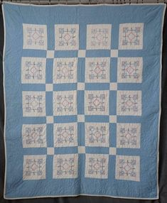 Romantic Cottage! Vintage Blue & White Embroidered QUILT 82x66 | eBay Green Rose, Green Flowers, Pink Blue, Blue And White, Embroidered Quilts, Basket Quilt, Rose Of Sharon, Romantic Cottage, Blue Quilts