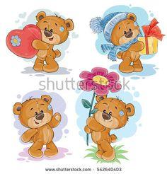 Set vector clip art illustrations of teddy bears