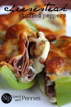 Cheesesteak Stuffed Peppers Spend With Pennies recipes Lunch Recipes, Beef Recipes, Low Carb Recipes, Great Recipes, Dinner Recipes, Cooking Recipes, Favorite Recipes, Healthy Recipes, Lunch Meals