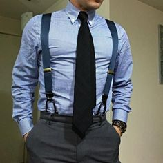 Navy braces, black tie and a blue check shirt Mens Fashion Suits, Mens Suits, Fashion Outfits, Men's Fashion, Mens Braces, Braces Suspenders, Style Masculin, Gentleman Style, Gentleman Fashion
