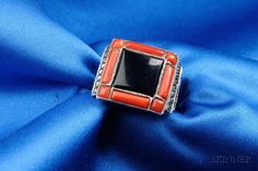 Art Deco Sterling Silver, Coral, Onyx, and Marcasite Ring, Theodor Fahrner | Sale Number 2413, Lot Number 37 | Skinner Auctioneers