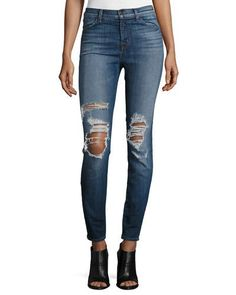 TDE02 J Brand Maria High-Waist Skinny Jeans, Decoy Destruct