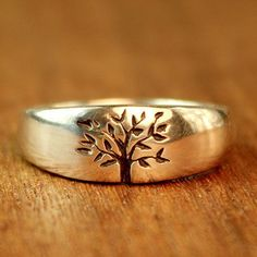 Tree of Life Wedding ring in sterling silver. Men's wedding band. Women's wedding band. Alternative Wedding Ring. on Etsy, $200.00