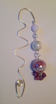 Handmade lilac wire squiggle bookmark with a a by HandmadeByKikiJ, £7.00