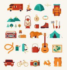 Camping & Hiking flat icon set by Marish on Creative Market