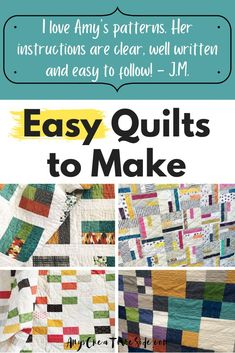 If you need to make a quilt fast, these 7 simple quilt patterns are just the thing you need! Each of these modern quilt designs make an easy sewing project for even a beginner quilter to sew. They include some of my most popular quilt patterns. Use a jelly roll, layer cake, or pull out your fat quarter stash to make a beautiful quilt in no time at all. Which quilt is your favorite?