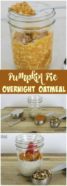 Pumpkin Pie Refrigerator Oatmeal- This easy overnight oatmeal recipe tastes just like pumpkin pie, but is made with healthy ingredients. This refrigerator oatmeal only uses 5 ingredients and it is so quick and easy to make!