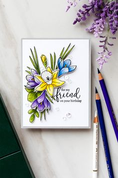 Yana Smakula: Simon Says Stamp More Spring Flowers stamp & die sets and Friendship Blooms stamp set (sentiment); Faber Castell Polychromos colored pencils