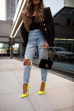 Women Jeans Outfit Modest Summer Dresses High Waisted Leather Pants Me – freesiarlily Casual Heels Outfit, Heels Outfits, Outfit Jeans, Red Pumps Outfit, Yellow Shoes Outfit, Shirt Outfit, Neon Outfits, Classy Outfits, Casual Outfits