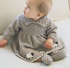 Vintage Smock Effect  Sheep Motif  Dress & Booties Knitting Pattern 6 - 24 mths