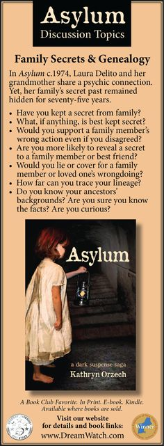 Family Secrets & Genealogy.  In Asylum c.1974, Laura Delito and her grandmother share a psychic connection. Yet, her family's secret past remained hidden for seventy-five years. #History #FamilySecrets #Genealogy #1900