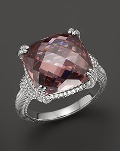 Sterling Silver Cushion Stone Ring with Raspberry Crystal