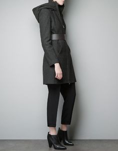 HOODED COAT WITH WRAP-AROUND COLLAR - Coats - Woman - ZARA