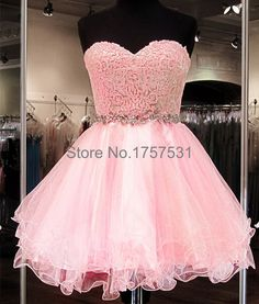 Pink Cute Homecoming Dresses vestido Lace Top