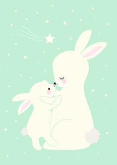 poster konijntjes mintgroen #poster #mint