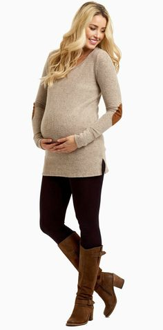 This is the perfect winter essential this season with a super soft knit material and long sleeves. Not only will this top keep you warm, but its button back detail and quilted elbow add the perfect stylish touches. Pair this knit maternity top with maternity jeans and boots for a complete look.
