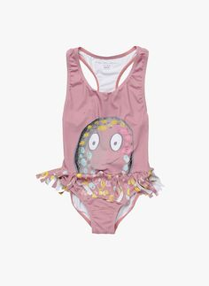 Swimsuit in a peachy tone featuring an octopus print and frills design. This item is sun protective with Ultraviolet Protection factor 50+ 95% Polyamide, 5% Elastane FIT The Stella McCartney fit can b