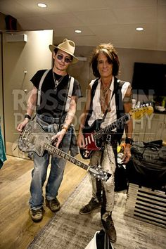Johnny Depp and Joe Perry backstage at The LA Forum.