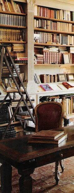 ~linen & lavender: Chateau de Gignac, Image 10 - I love library ladders, want one in our home office which is lined with bookshelves. Im only 5, can never reach the top shelves!