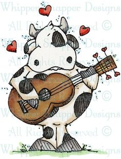 Crooning Cow - Farm - Animals - Rubber Stamps - Shop
