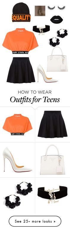 """""""Untitled #15"""" by daphnee-coulombe on Polyvore featuring Heron Preston, Christian Louboutin, Versace, Oscar de la Renta and Yves Saint Laurent"""