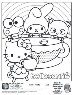 Here Is The Happy Meal Hello Sanrio Kitty Coloring Page Click