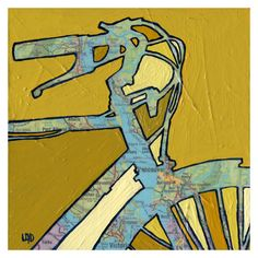 Bike Vancouver --bicycle art print with map of British Columbia