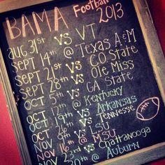 Chalkboard Bama Football Schedule