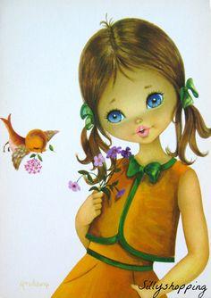 Vintage Bigeyed Girl Postcard | Flickr - Photo Sharing!