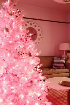 Pink Christmas tree with white lights!  i may need one next year.