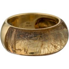 H.Stern Rutilated Quartz Ring ($1,095) ❤ liked on Polyvore featuring jewelry, rings, gold, pre owned rings, 18k ring, h stern rings, band rings and preowned jewelry