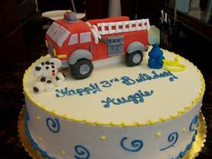 adorable firetruck birthday cake