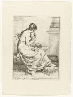 Angelica Kauffmann | Vrouw die haar haar vlecht, Angelica Kauffmann, 1765 | Een vrouw met onbloot bovenlijf zit op een terras haar haar te vlechten. Uitkijk over glooiend landschap.