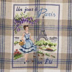 Lin : Torchon « Un jour à Paris en Eté » à broder au point de croix