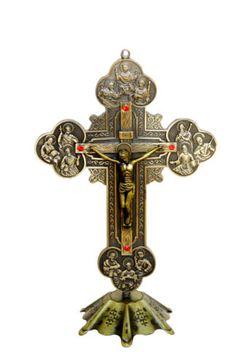 "$9.99, ~8"", Antique-Bronze-Altar-Standing-Crucifix-Cross-INRI-Catholic-Religious-Wall-Cross"