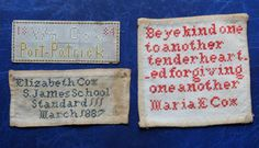 RARE SET of 3 Small ANTIQUE NEEDLEWORK SAMPLERS COX FAMILY PORTPATRICK Scotland