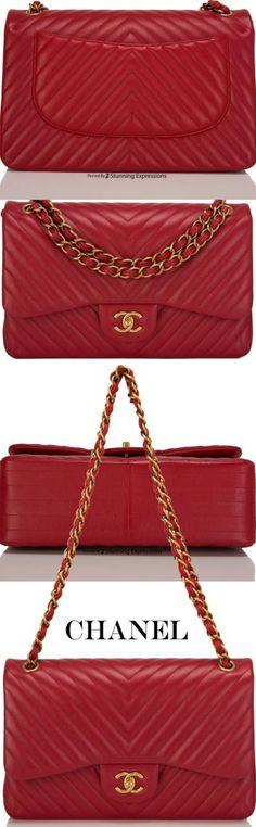 Chanel Red Chevron Jumbo Classic Double Flap Bag - Chanel Red - Ideas of Chanel Red - Chanel Red Chevron Jumbo Classic Double Flap Bag Chanel Purse, Chanel Handbags, Leather Handbags, Chanel Fashion, Fashion Bags, Handbag Accessories, Fashion Accessories, Bags Online Shopping, Luxury Bags